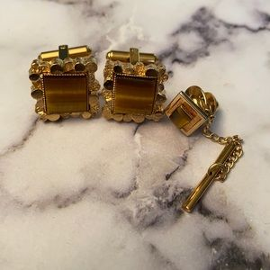 Cuff links and tie pin tigers eye
